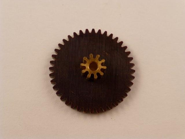 Doppel-Zahnrad, Messing/Kunststoff, Modul 0,5,  40/10 Zähne, Innendurchmesser 2mm,  Aussendurchmesser 21mm, 6mm Breit