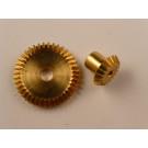 Kegelrad-Paar, Messing, Modul 0,5, 40/20 Zähne,  Innendurchmesser 2/4mm, Aussendurchmesser 10,5/20mm,  Breite 3/8mm